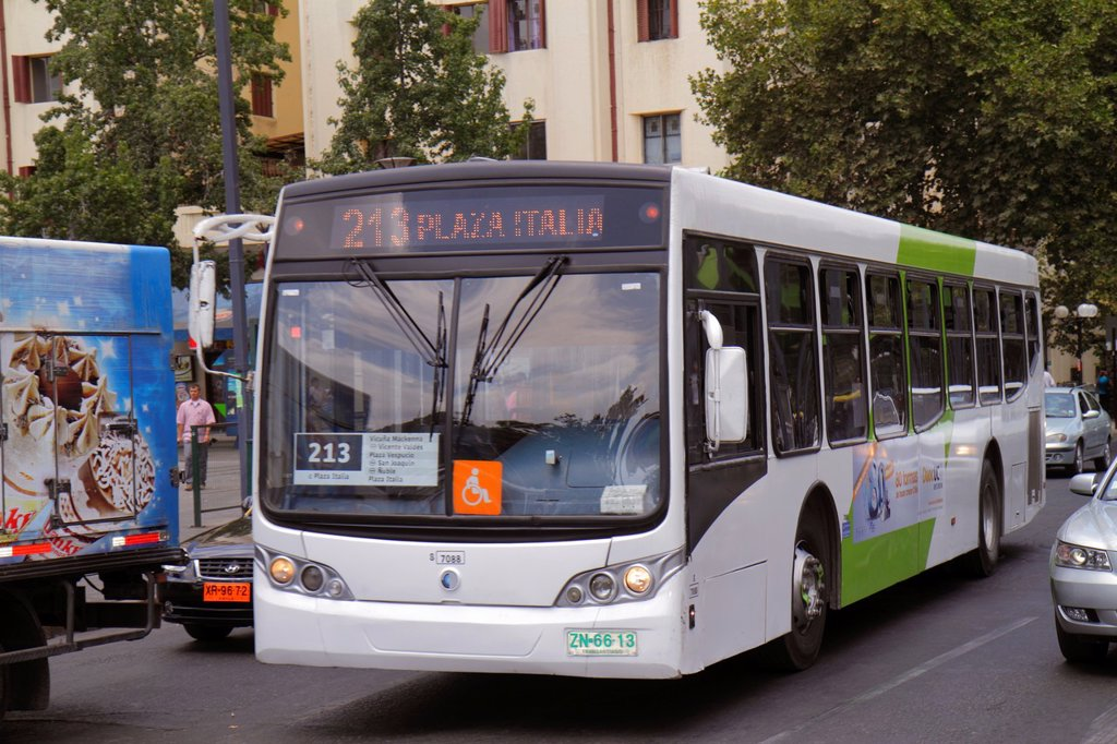 Stock Photo: 1566-1207389 Chile, Santiago, Providencia, Plaza Italia, street scene, Transantiago, bus, public transportion, traffic, Route 213, B7R Low-Entry Volvo bus, windshield, wipers,