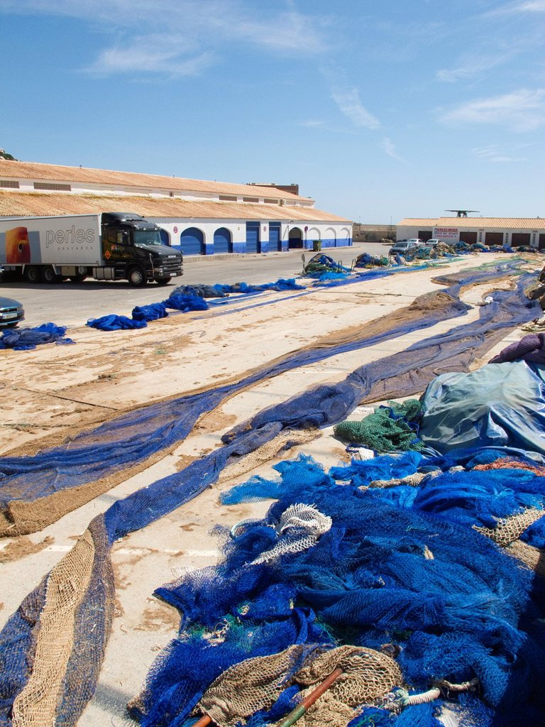 Fish market and networks Calpe Alicante Spain : Stock Photo