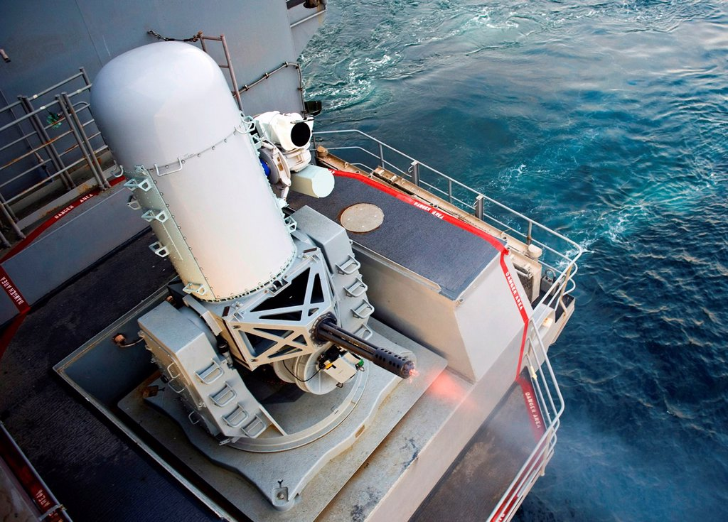 Stock Photo: 1566-1207697 ATLANTIC OCEAN Dec  5, 2012 A close-in weapons system fires during a pre-aim calibration aboard the aircraft carrier USS Harry S  Truman CVN 75  Harry S  Truman is underway supporting carrier qualifications