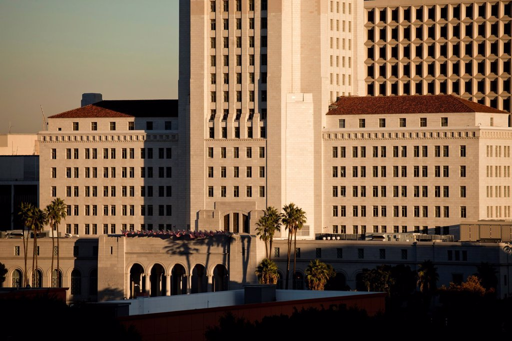 Stock Photo: 1566-1208002 City Hall, Downtown Los Angeles, California, United States of America, USA