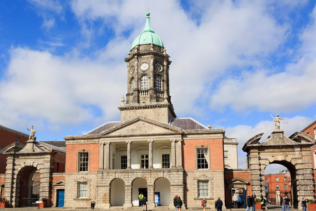 Stock Photo: 1566-1208155 Dublin, Republic of Ireland, Eire, Europe  Fortitude and Justice gates beside 18th century Bedford tower in Dublin castle´s Great Courtyard with tourists