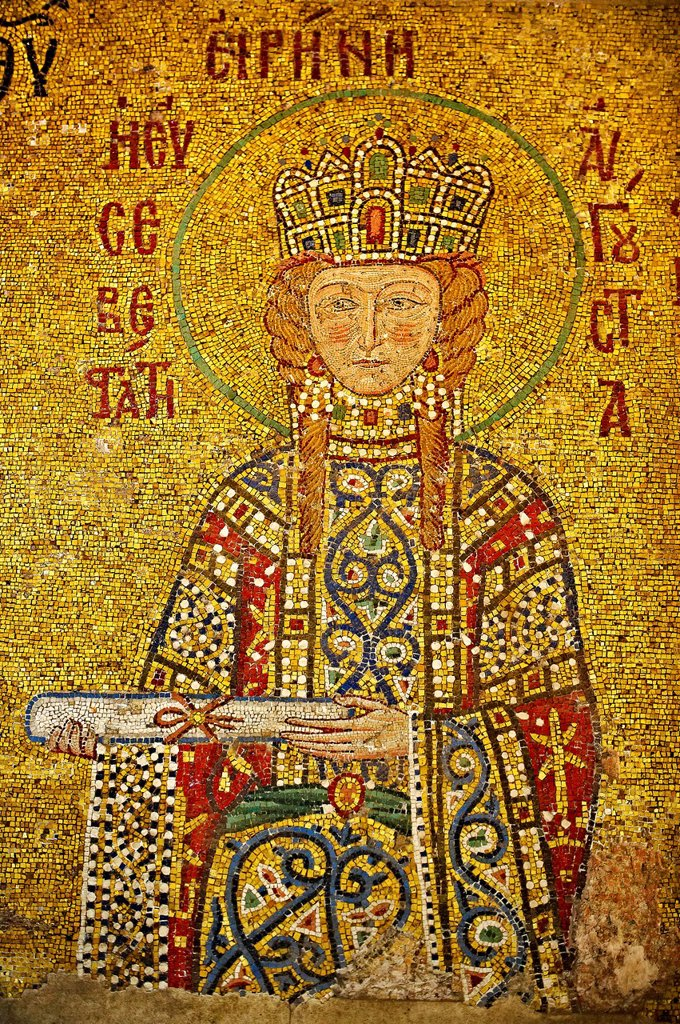 Stock Photo: 1566-1209166 12th Century Byzantine mosaic of Empress Irene Eirene making an offering as symbolised by the scroll  Hagia Sophia, Istanbul, Turkey