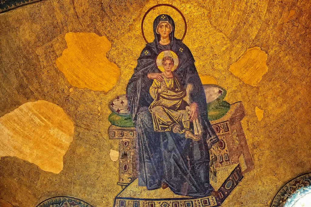 Stock Photo: 1566-1209167 Byzantine mosaic of the Virgin and Child was the first of the post-iconoclastic mosaics inaugurated on 29 March 867 by Patriarch Photius and the emperors Michael III and Basil I  Hagia Sophia, Istanbul, Turkey