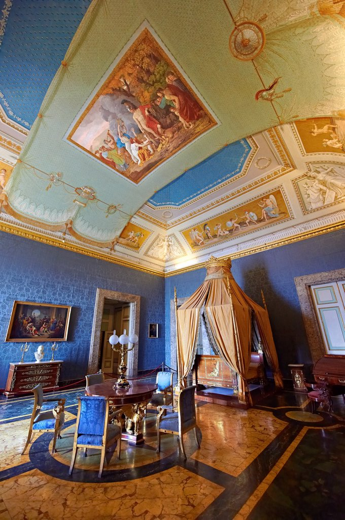 Stock Photo: 1566-1209214 ´The Bedroom of Francis II´  The room furnished with a four poster bed, chest of drawers and table in the Empire Style in mahogany & gilt  The vaulted ceiling is freaked with an allegory of the victory of Napoleon over the Bourbons: the Glory of Thesus sl. ´The Bedroom of Francis II´  The room furnished with a four poster bed, chest of drawers and table in the Empire Style in mahogany & gilt  The vaulted ceiling is freaked with an allegory of the victory of Napoleon over the Bourbons: the Glory