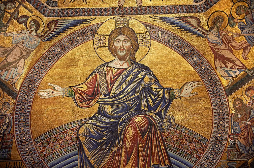 The Medieval mosaics of the ceiling of The Baptistry of Florence Duomo  Battistero di San Giovanni  showing Jesus Christ with arms stretched revealing the stigmata, started in 1225 by Venetian craftsmen in a Byzantine style and completed in the 14th centu. The Medieval mosaics of the ceiling of The Baptistry of Florence Duomo  Battistero di San Giovanni  showing Jesus Christ with arms stretched revealing the stigmata, started in 1225 by Venetian craftsmen in a Byzantine style and completed in th : Stock Photo