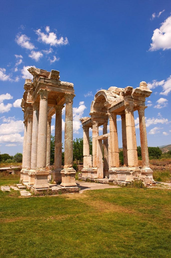 Stock Photo: 1566-1209252 Picture of the double Tetrapylon Gate, Aphrodisias, Turkey A tetrapylon´four gates´ is an ancient type of Roman monument of cubic shape, with a gate on each of the four sides: generally it was built on a crossroads