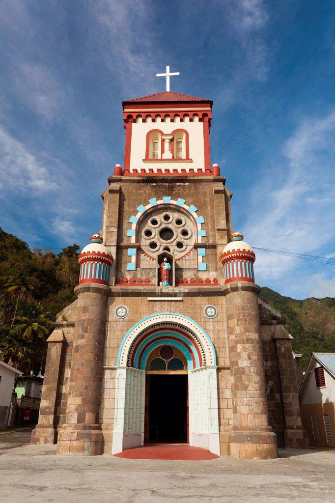 Stock Photo: 1566-1209532 Dominica, Soufriere, stone church