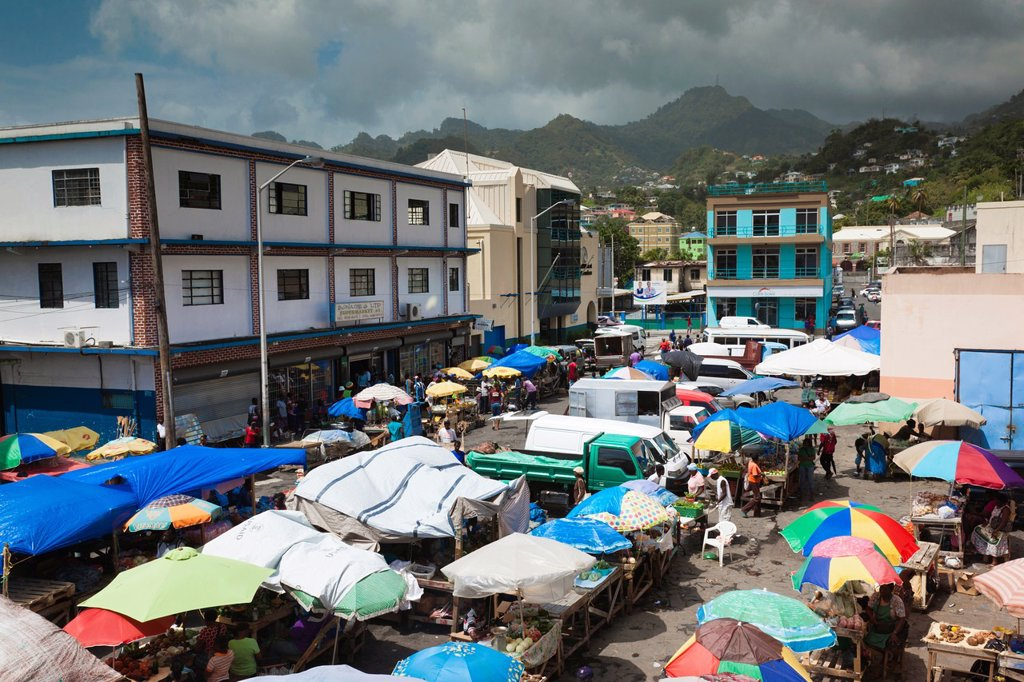 St  Vincent and the Grenadines, St  Vincent, Kingstown, Public Market : Stock Photo