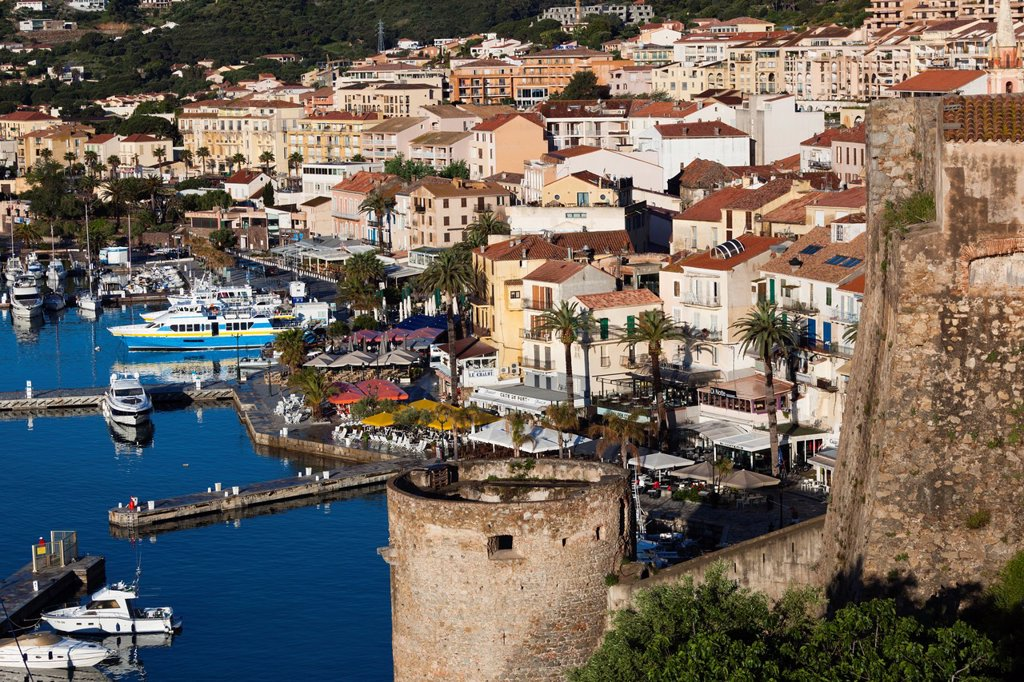 France, Corsica, Haute-Corse Department, La Balagne Region, Calvi, elevated view of the Port de Plaisance port, morning : Stock Photo