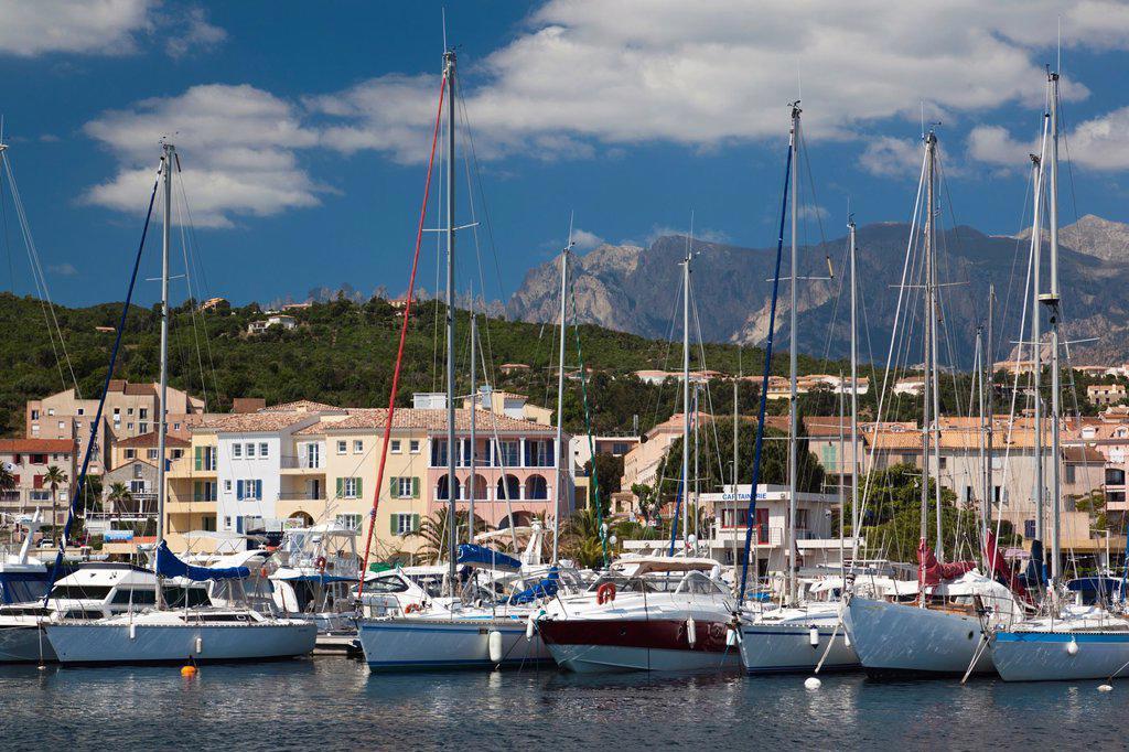 France, Corsica, Corse-du-Sud Department, Corsica East Coast Region, Cote des Nacres, seashell coast area, Solenzara, marina view of the town : Stock Photo