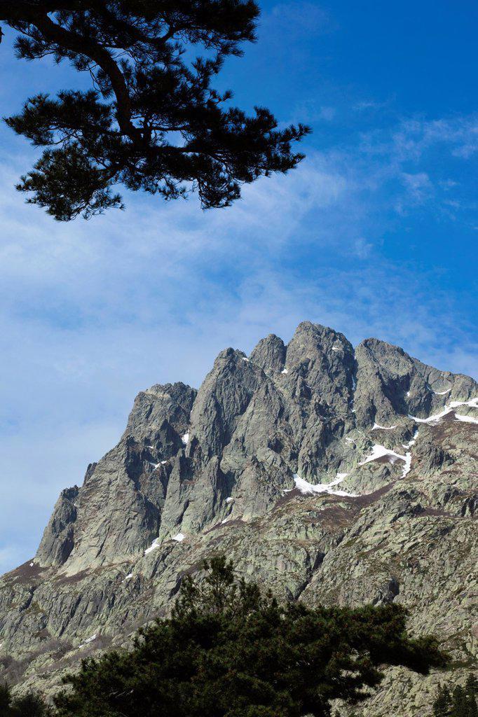Stock Photo: 1566-1210171 France, Corsica, Haute-Corse Department, Central Mountains Region, Corte-area, Gorges de la Restonica, mountain landscape
