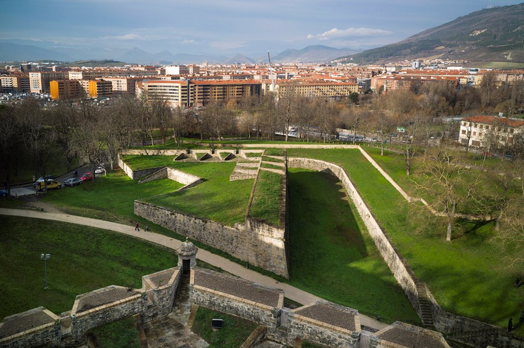 16th century old city walls, Pamplona, Navarra, Euskadi, Spain, Europe : Stock Photo