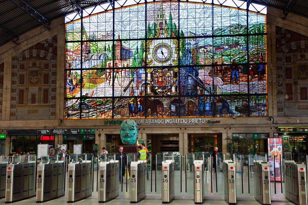 Stained glass windows in Abando Train Station. Bilbao. Bizkaia. Vizcaya. Pais Vasco. Euskadi. Basque Country. SPAIN. : Stock Photo