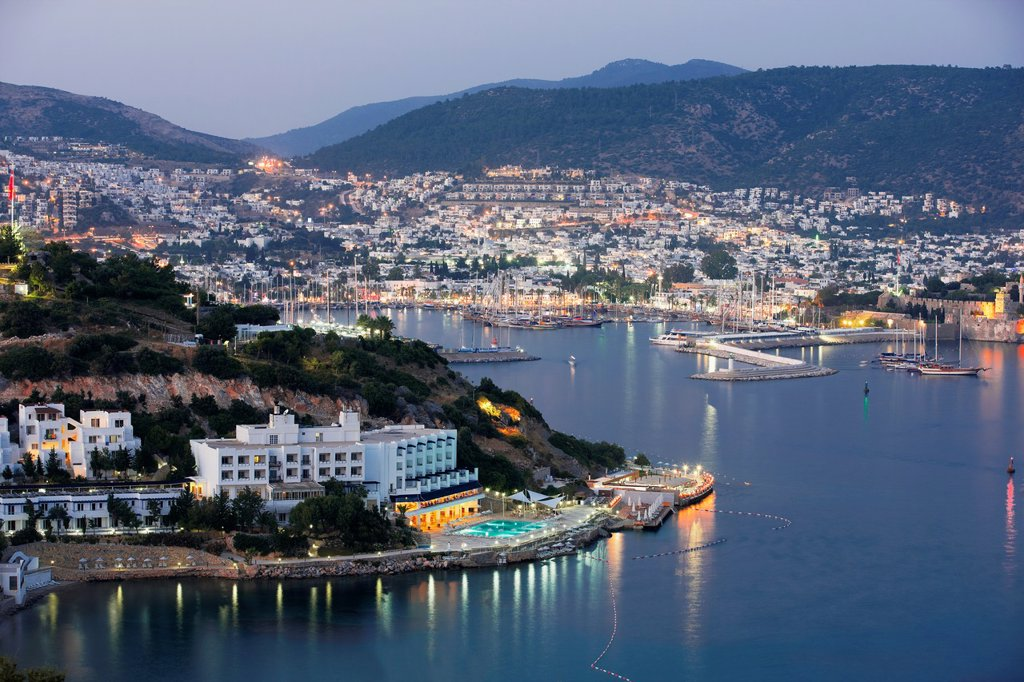 Bodrum harbour at night  Bodrum, Mugla province, Turkey : Stock Photo