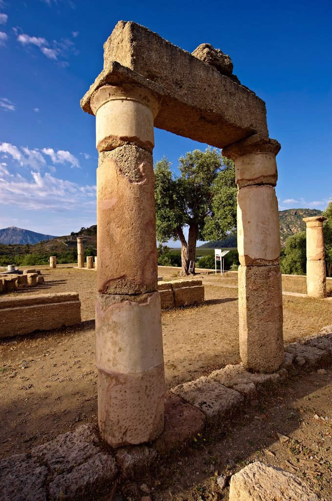 The 1st cent B C Terrace Temple dedicated to Zeus Soteros and round sanctuary dating back to the 5th cent B C and dedicated to the god King Basileus Kaunios, the son of Apolloâs son Miletos and the water nymph Kyanee,  Archaeological site of Kaunos Caunos : Stock Photo