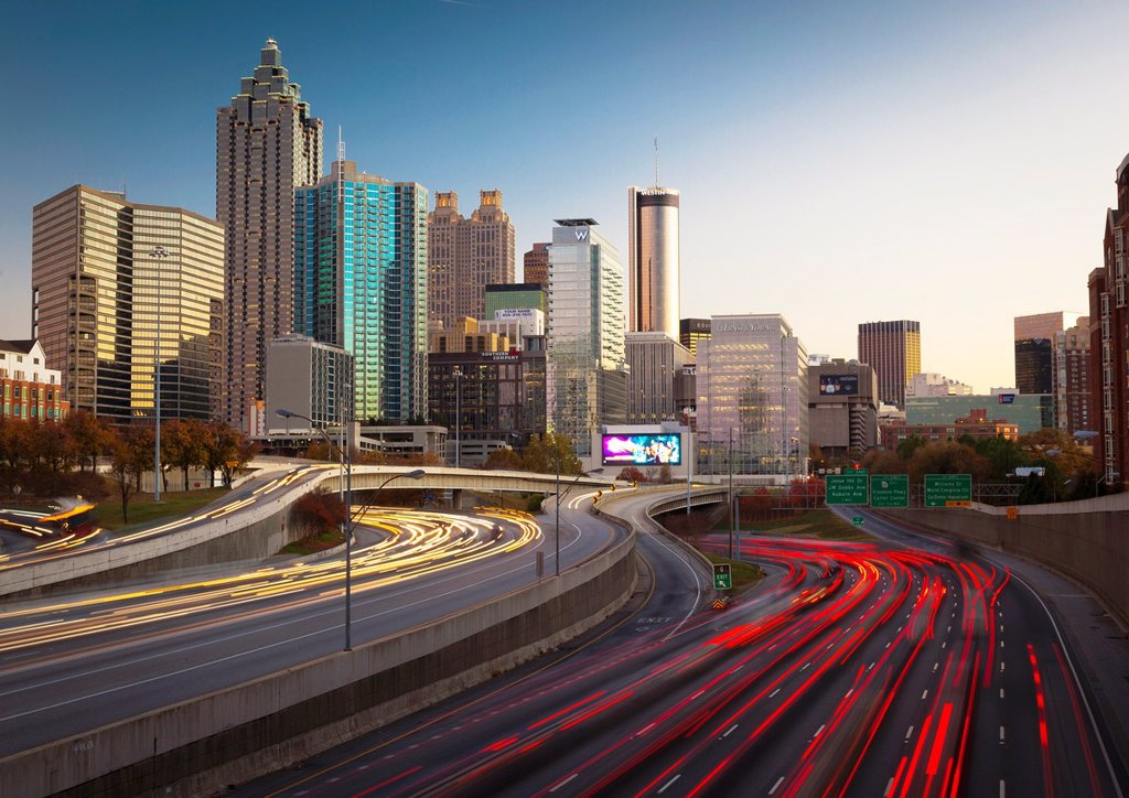 Atlanta is the capital and most populous city in the U S  state of Georgia  Atlanta´s population is 545,225  Atlanta is the cultural and economic center of the Atlanta metropolitan area, which is home to 5,268,860 people and is the ninth largest metropoli : Stock Photo