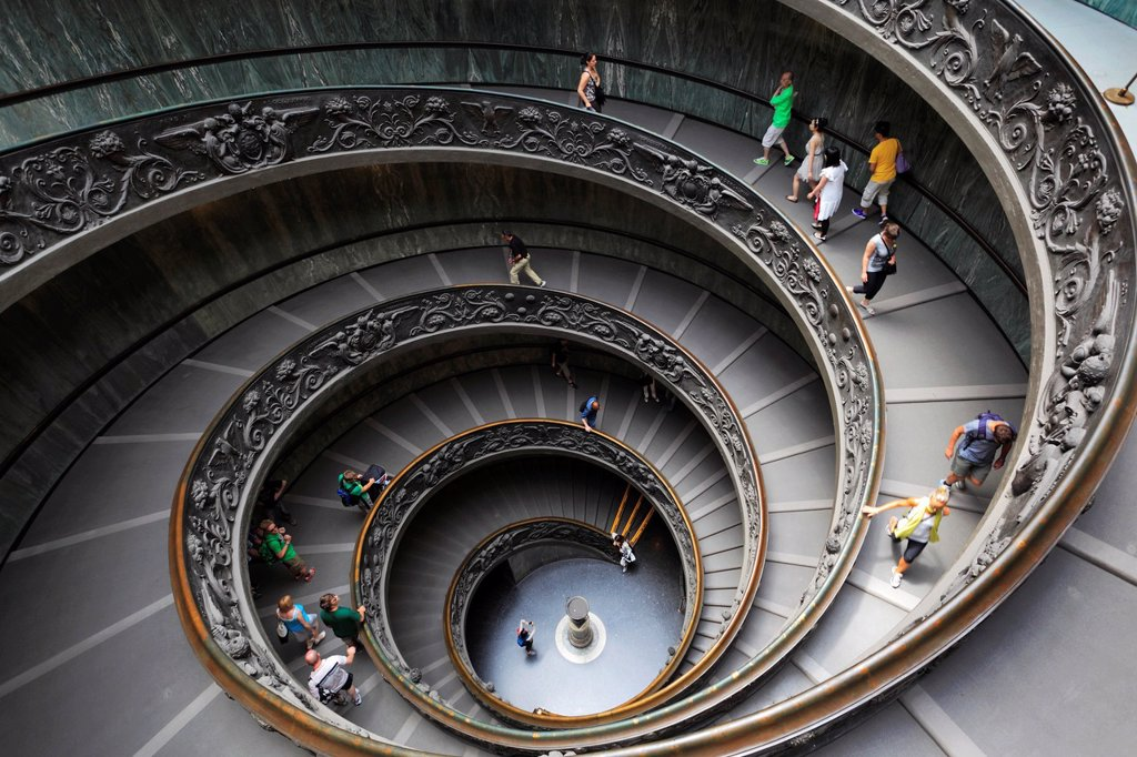 Spiral staircase in the Vatican museums Italian: Musei Vaticani : Stock Photo