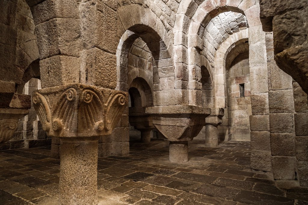 Stock Photo: 1566-1214875 Crypt of the Church of St. Salvador in Monasterio de Leyre. Navarre, Spain.