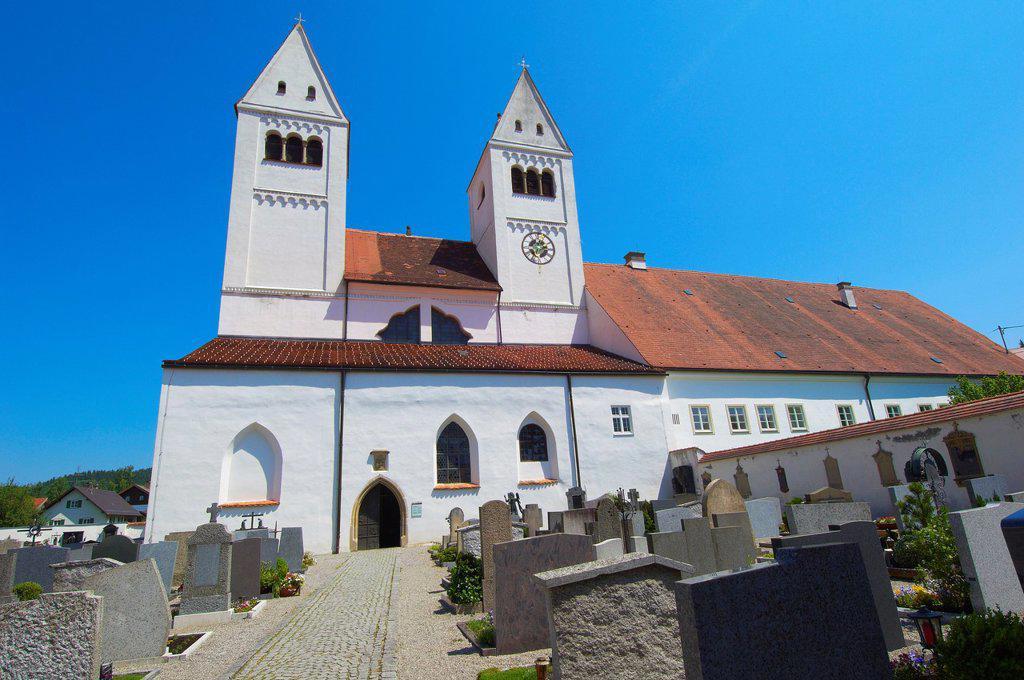 Steingaden, Upper Bavaria, St  John the Baptist Abbey church, Bavaria, Germany. : Stock Photo