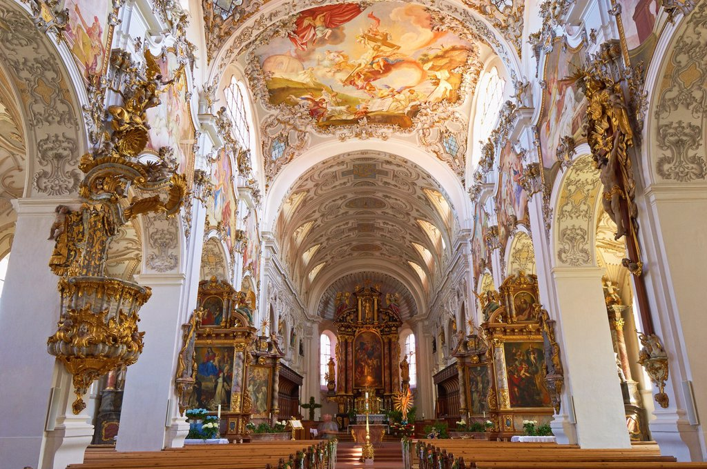 Stock Photo: 1566-1215590 Steingaden, Upper Bavaria, St  John the Baptist Abbey church, Bavaria, Germany.