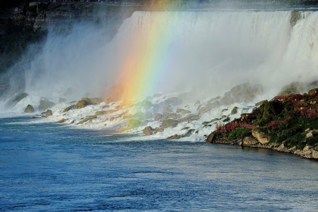 Stock Photo: 1566-1216272 Niagara Falls US section and afternoon rainbow, Niagara Falls, Ontario, Canada