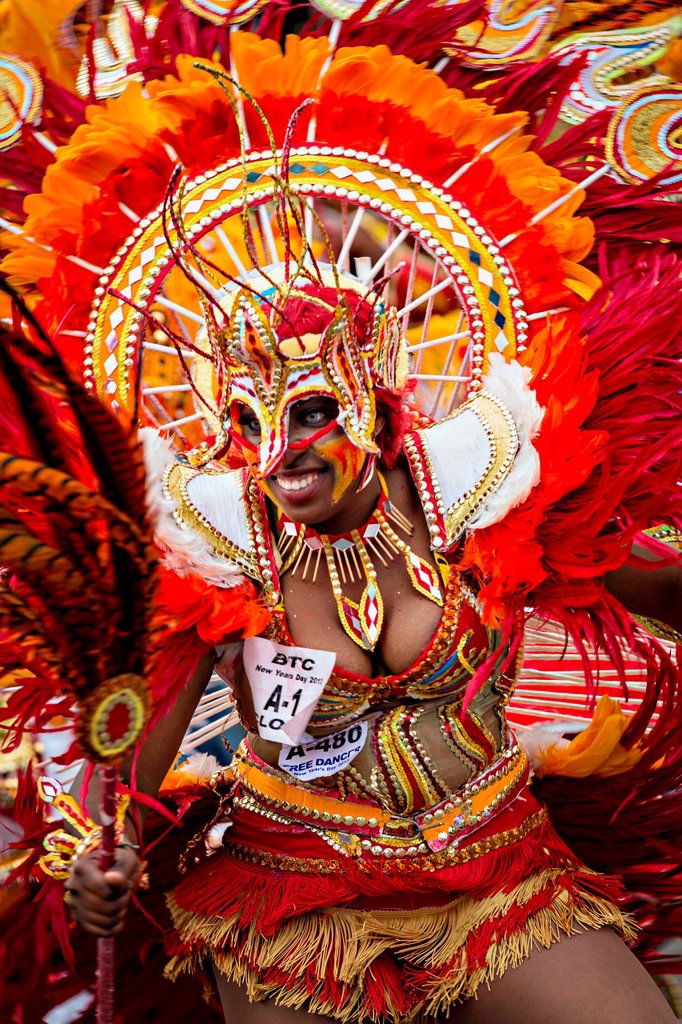 Costumed dancers celebrate the New Year with the Junkanoo Parade on January 1, 2013 in Nassau, Bahamas  The carnival like festival is celebrated in the early hours of the New Year lasting until the late morning and dates back to slavery days : Stock Photo