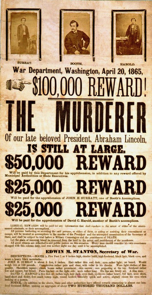 Stock Photo: 1566-1217117 Abraham Lincoln murder reward poster 1865