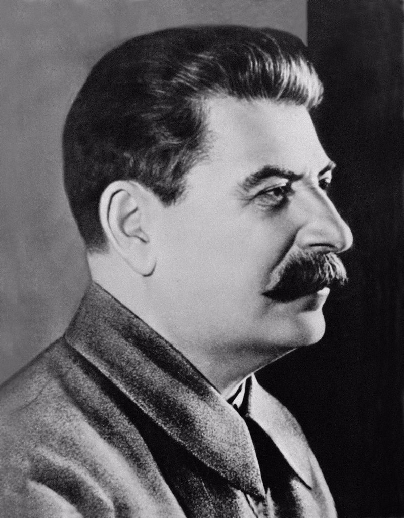 Joseph Vissarionovich Stalin was the Premier of the Soviet Union from 6 May 1941 until his death in 5 March 1953  1942 image from Archives of Press Portrait Service - formerly Press Portrait Bureau : Stock Photo