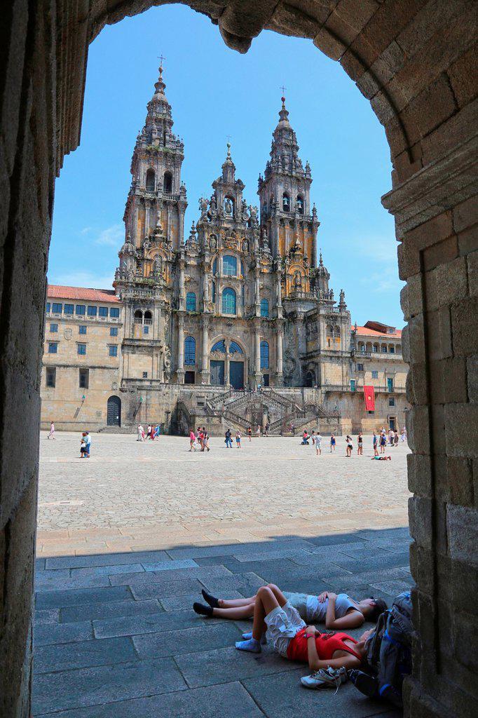 Stock Photo: 1566-1217226 Catedral, Praza do Obradoiro, Santiago de Compostela, A Coruña province, Galicia, Spain