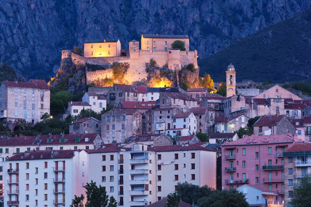 France, Corsica, Haute-Corse Department, Central Mountains Region, Corte, city and Citadel, dawn : Stock Photo