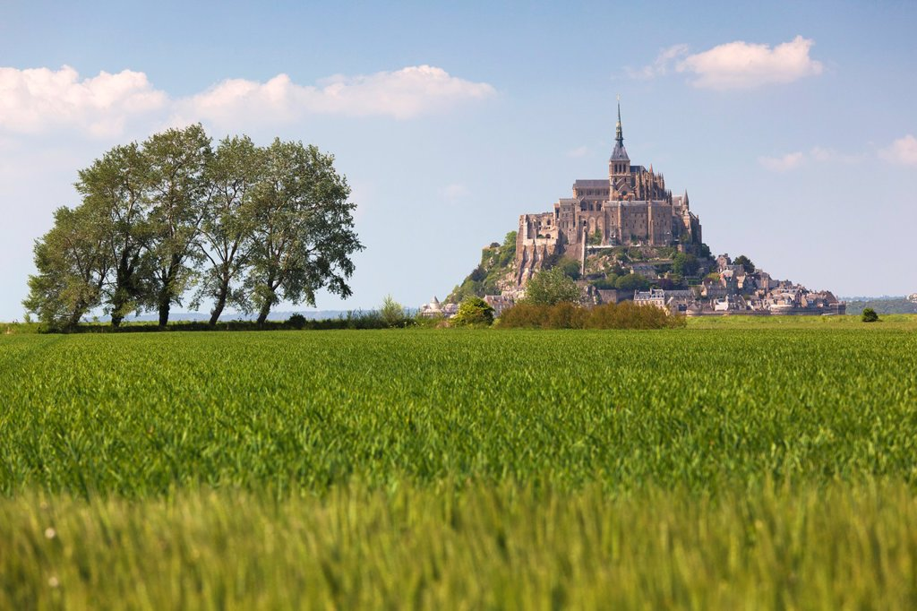 France, Normandy Region, Manche Department, Mont St-Michel, distant view : Stock Photo