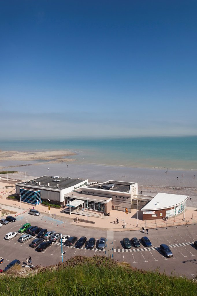 Stock Photo: 1566-1217543 France, Normandy Region, Seine-Maritime Department, St-Valery en Caux, elevated view of beach and casino
