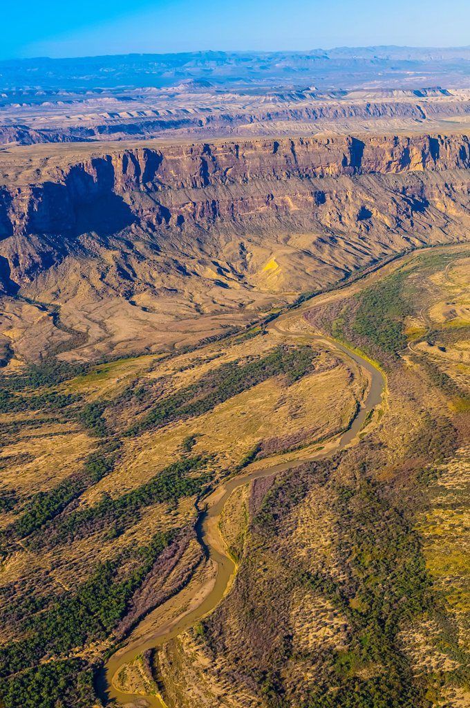 Aerial view taken over Big Bend National Park, Texas USA looking to the Rio Grande River, which is the border between the U S  and Mexico  Mexico is on the left side of the river : Stock Photo