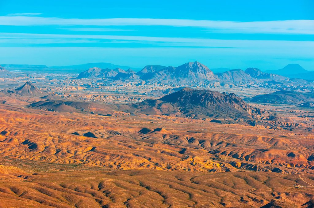 Stock Photo: 1566-1217706 Aerial view of the Chihuahuan Desert near Big Bend National Park, Texas USA