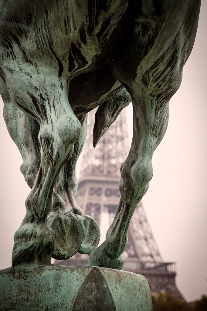 Stock Photo: 1566-1217926 Eiffel tower beyond the equestrian statue at Pont Bir Hakeim by Dutch sculptor Wederlink - symbol of Reviving France, Paris France