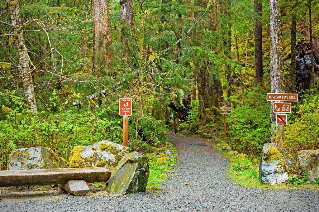 Mosquito Cove trail head, Tongass National Forest near Sitka, Alaska, USA : Stock Photo