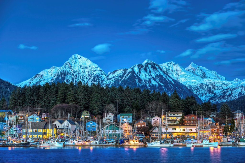 Stock Photo: 1566-1218083 View of quaint Alaskan village at sunset, Sitka, Alaska, USA