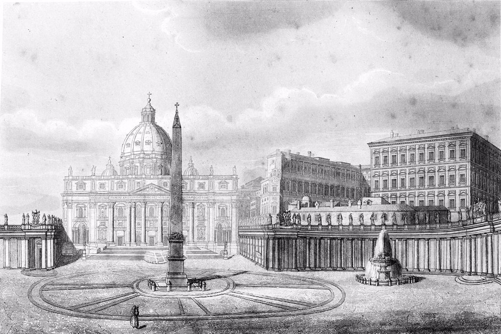 St  Peter´s Square  Vatican  Antique illustration, 1856 : Stock Photo