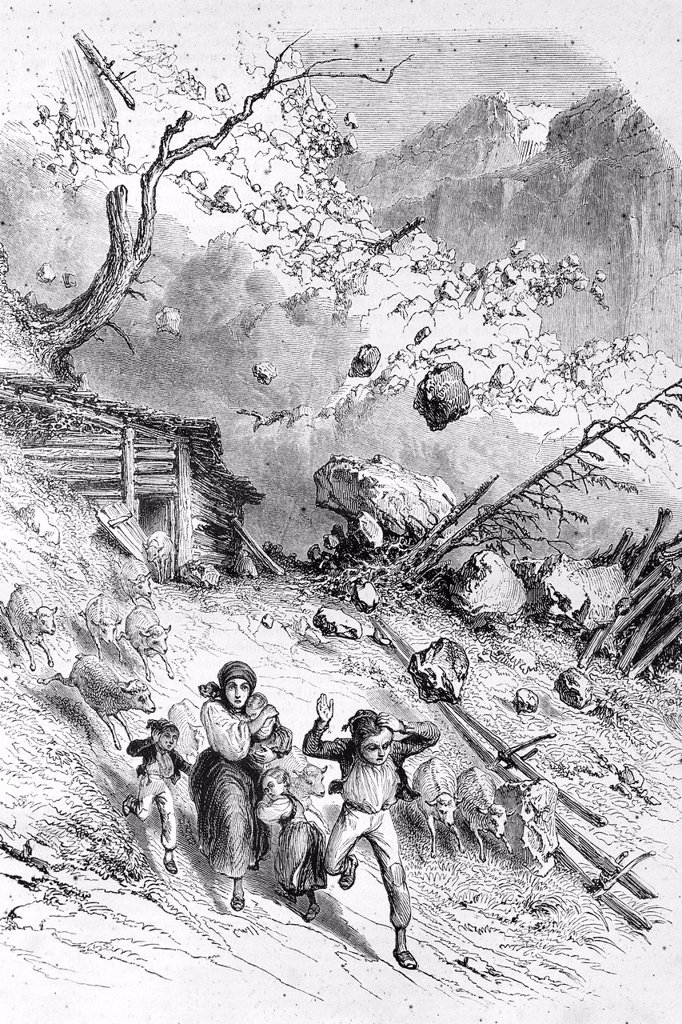 Stock Photo: 1566-1219010 Avalanche in the Swiss Alps  Antique illustration, 1855