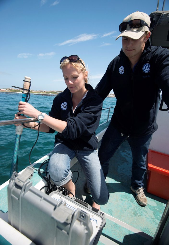 Stock Photo: 1566-1219083 Shark scientists Oliver Jewell and Alison Towner deploy a directional hydrophone coupled to a VEMCO RM100 Ultrasonic telemetry receiving device which allows them to track acoustically tagged great white shark Carcharodon carcharias behaviour in real time   This allows the scientists to follow the sharks swimming in real time by receiving the pings emanating from tagged animals