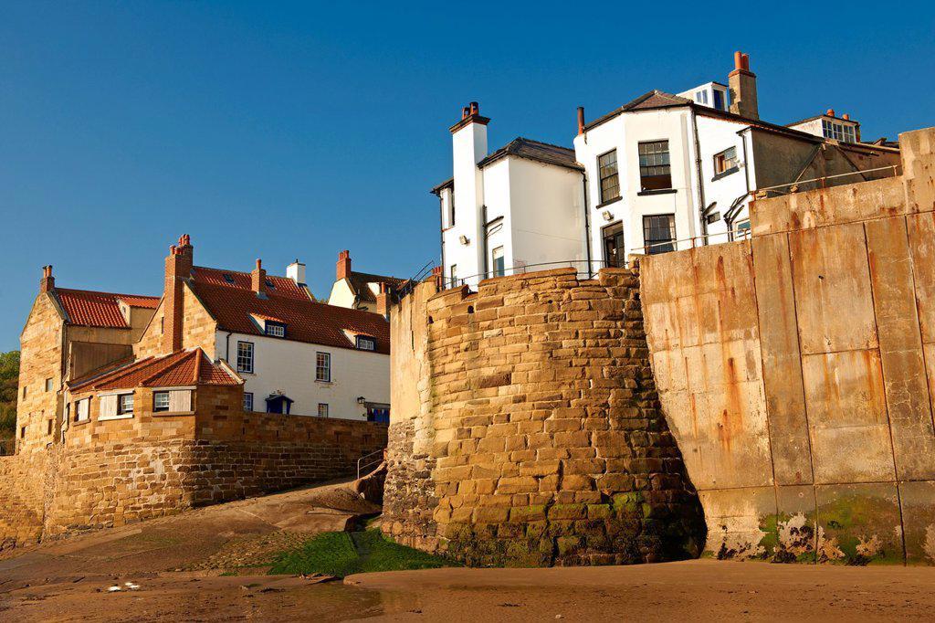 Stock Photo: 1566-1219264 Historic fishing village of Robin Hood´s Bay, Near Whitby, North Yorkshire, England