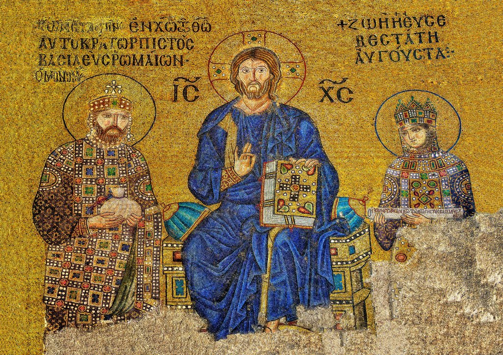 11th Century Byzantine mosaic of Christ Pantocrator with left Emperor Constantine IX Monmachus making an offering of money and right Empress Zoe  Hagia Sophia, Istanbul, Turkey : Stock Photo