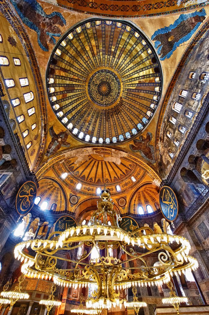 Stock Photo: 1566-1219549 The Islamic decoration on the domes of the interior of Hagia Sophia  Ayasofya  , Istanbul, Turkey