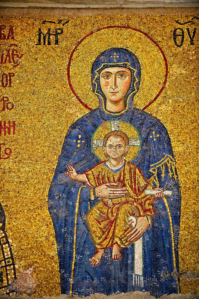 Stock Photo: 1566-1219550 12th Century Byzantine mosaic of The Madonna & Child, Hagia Sophia, Istanbul, Turkey