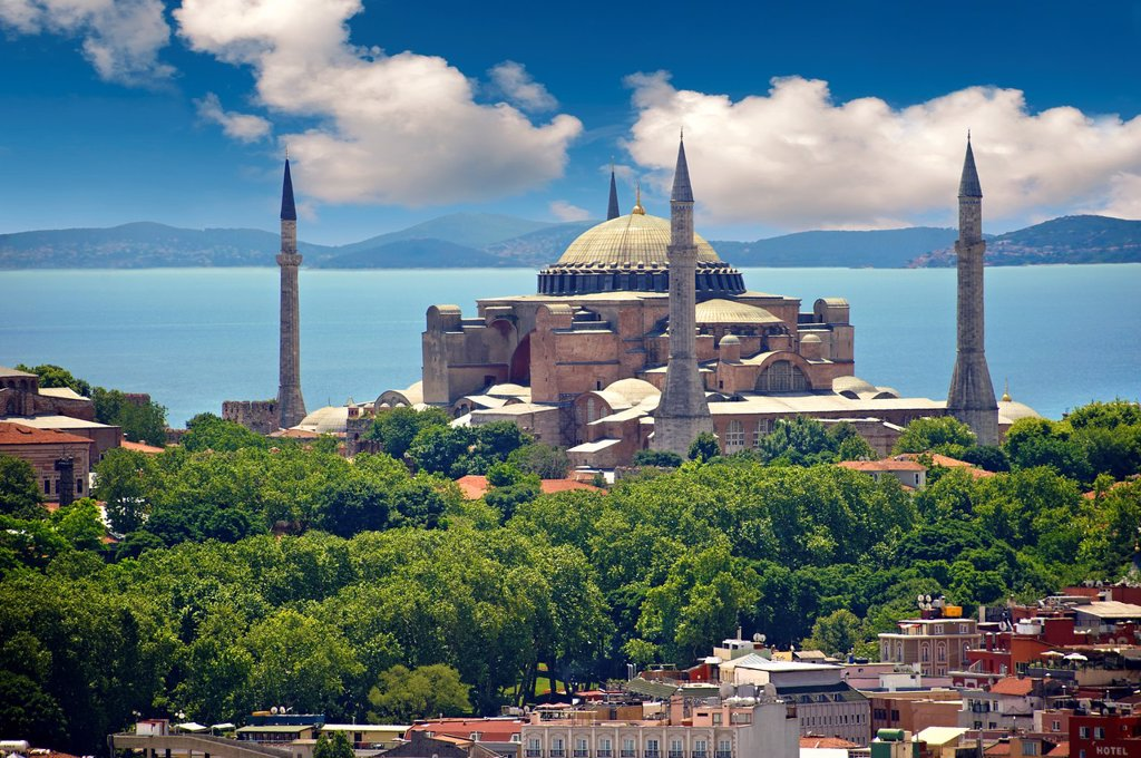 Stock Photo: 1566-1219552 The exterior of the 6th century Byzantine Eastern Roman Hagia Sophia  Ayasofya  built by Emperor Justinian  The size of the dome was un-surpassed until the 16th century, Istanbul, Turkey