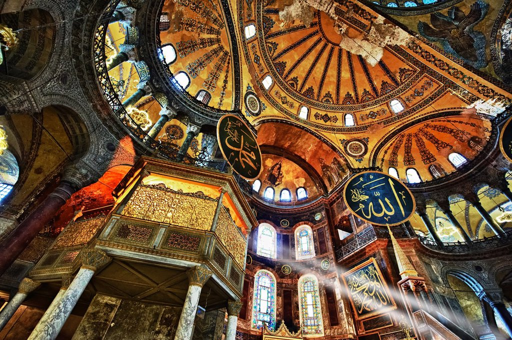 Stock Photo: 1566-1219553 The Islamic decoration on the domes of the interior of Hagia Sophia  Ayasofya  , Istanbul, Turkey
