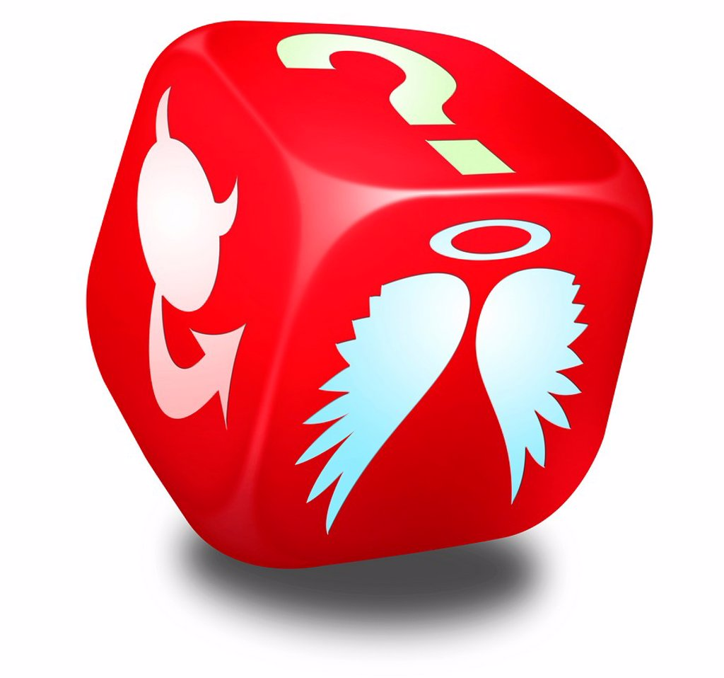 Stock Photo: 1566-1219811 Red dice with symbols representing and Angel, the Devil and a Question mark on its sides - Concept image
