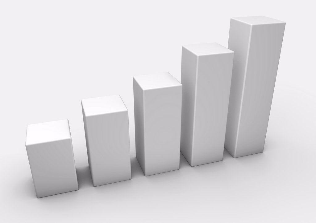 Stock Photo: 1566-1219846 3D render of an ascending white bar graph on a white background - Concept image