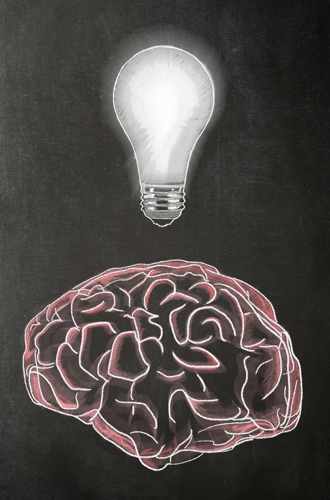 Stock Photo: 1566-1219876 Illustration in chalk of a human brain with a light bulb above it on a blackboard