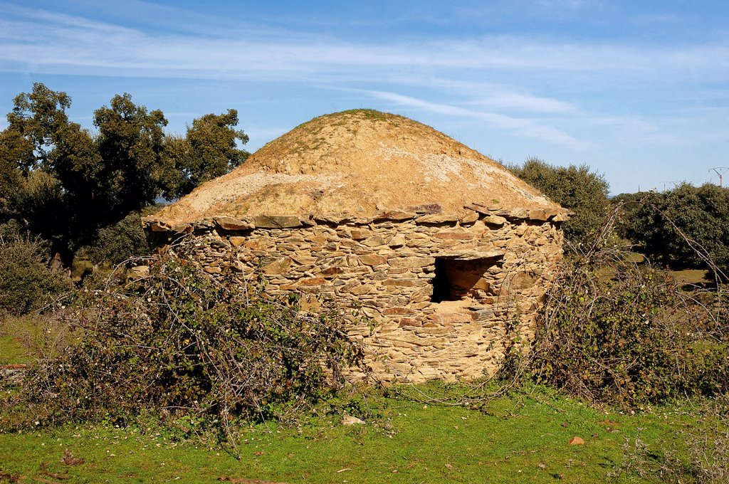 Stock Photo: 1566-1220847 Hut of swineherd, Dehesa Boyal, Montehermoso, Caceres-province, Spain,